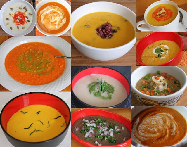 A Collection Of Pureed Soups Curried Cauliflower Potato