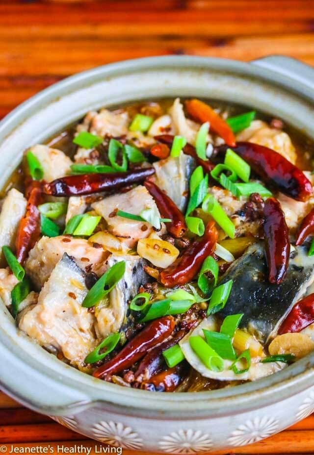 Chinese Szechwan Spicy Fish Soup - hot bean sauce, dried chilies, Szechwan peppercorns and ginger are the key ingredients in this flavorful soup