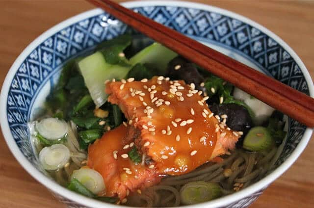 Easy Honey Miso Glazed Salmon and Soba Noodle Soup