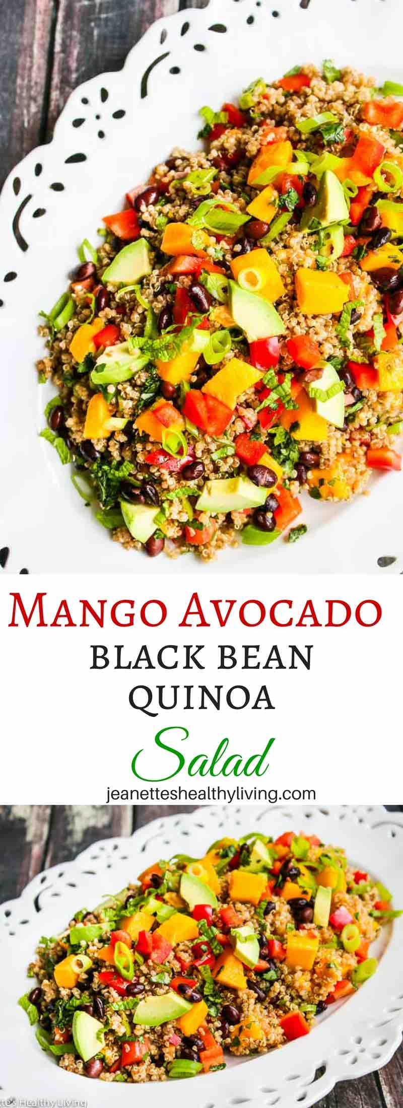 Mango Avocado Black Bean Quinoa Salad This Beautiful Healthy Salad Is Perfect For Entertaining