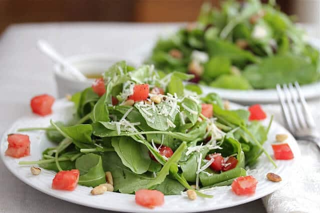 Arugula Tomato Salad and Arugula Roasted Beet Goat Cheese Salad with Lemon Dressing Recipes
