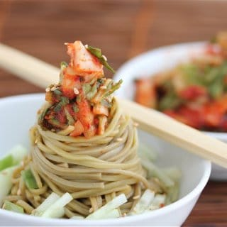 Cold Kim Chi Cucumber Soba Noodle Salad Recipe