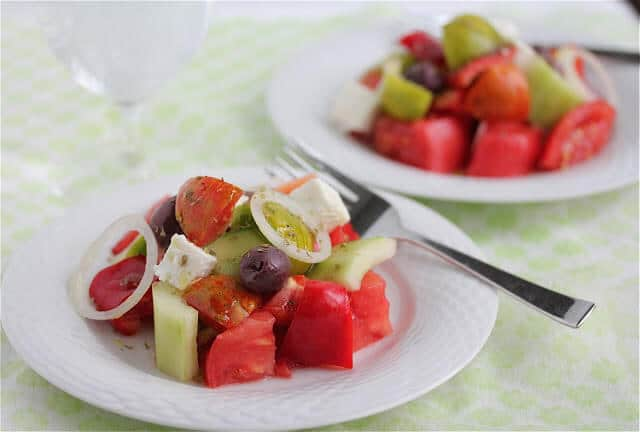 Preparing for Hurricane Irene – What I learned {Greek Salad with Tomato, Cucumber, Peppers and Feta Cheese}