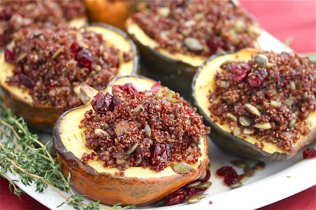 Roasted Acorn Squash Stuffed with Quinoa Mushroom Pilaf