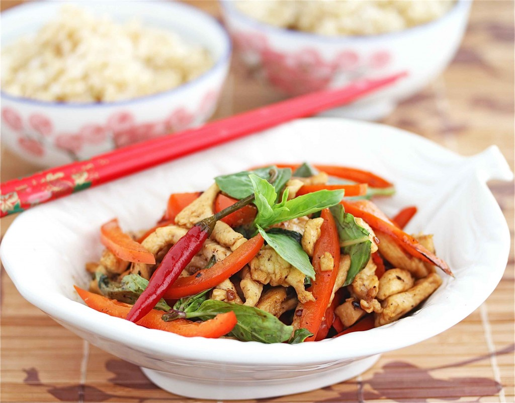 Stir-Fried Thai Chicken with Basil and Peppers Recipe ...