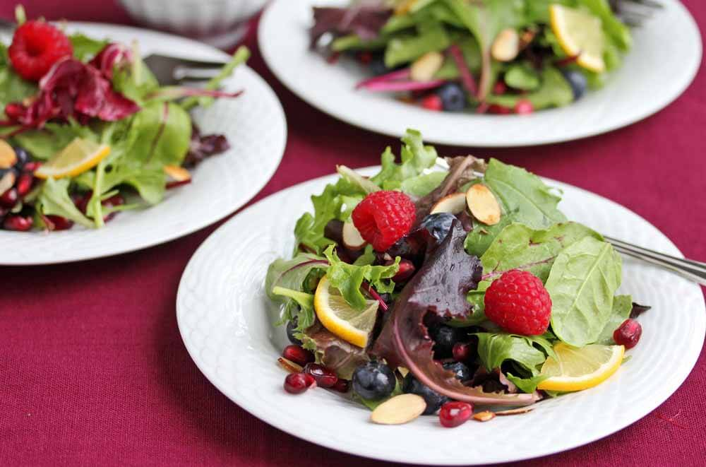 Fresh Berry Green Salad with Pomegranate Meyer Lemon Salad Dressing Recipe