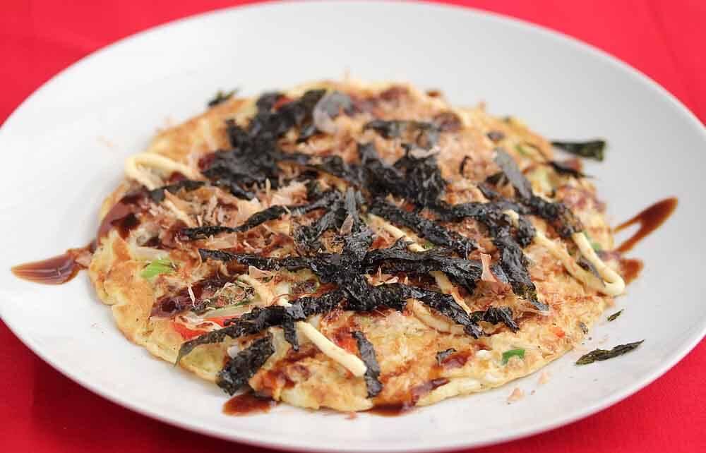 Asian Fusion Omelette Frittata Okonomiyaki Style
