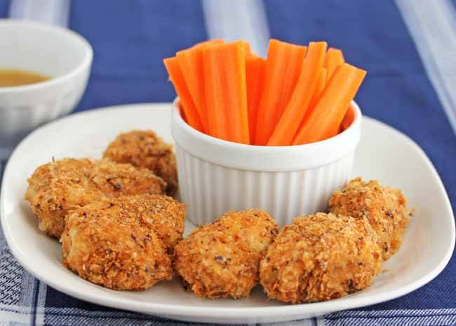 Buffalo Chicken Nuggets coated with Mary's Gone Crackers Savory Crumbs