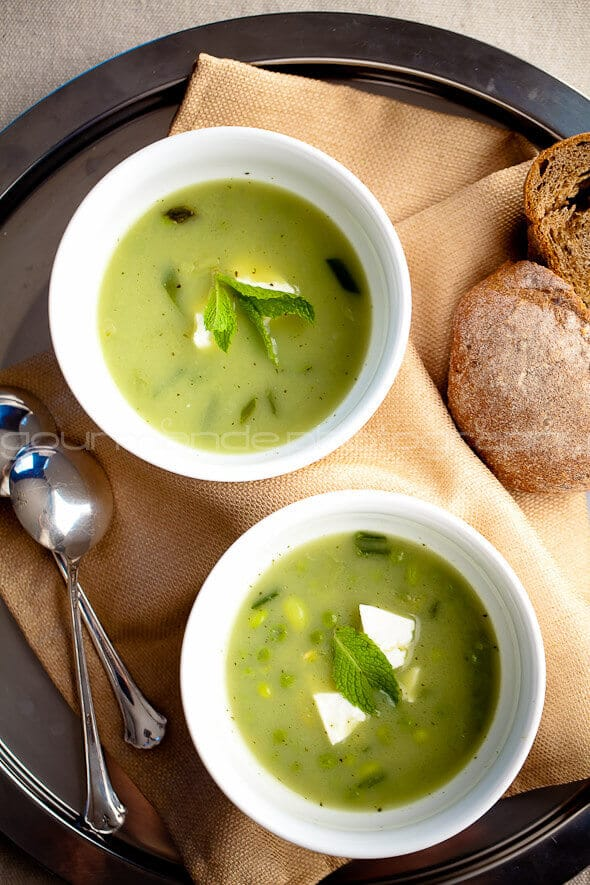 Pea Edamame and Mint Soup with Feta