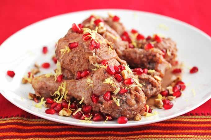 Braised Pomegranate Chicken with Walnuts