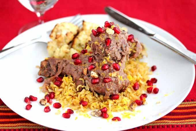 Persian Braised Pomegranate Chicken with Walnuts