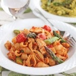 Whole Grain Pasta with Sun-Dried Tomato Pesto and Roasted Vegetables