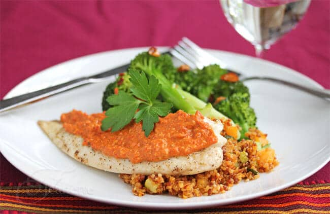 Baked Tilapia Fish with Muhammara spread on top