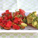 Breakfast Bruschetta with Tomato and Avocado