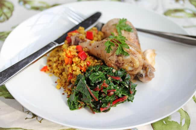 Lyon-Style Chicken with Vinegar Sauce served with Swiss Chard and Quinoa Pilaf