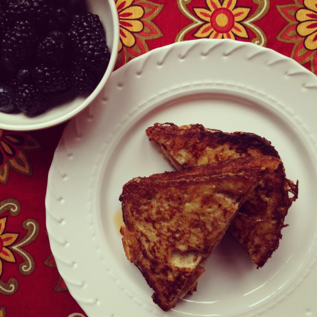 Banana Peanut Butter Stuffed French Toast (gluten-free bread)