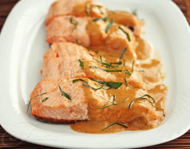 Salmon with Thai Coconut Curry Sauce