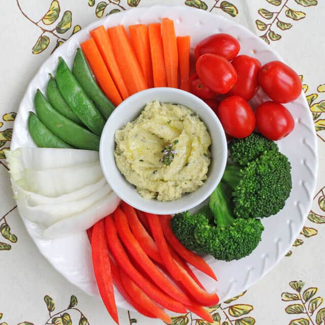 Warm Artichoke Heart and Hearts of Palm Dip with Fresh Vegetables