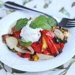 Grilled Red Peppers and other Summer Vegetables with Yogurt Sauce