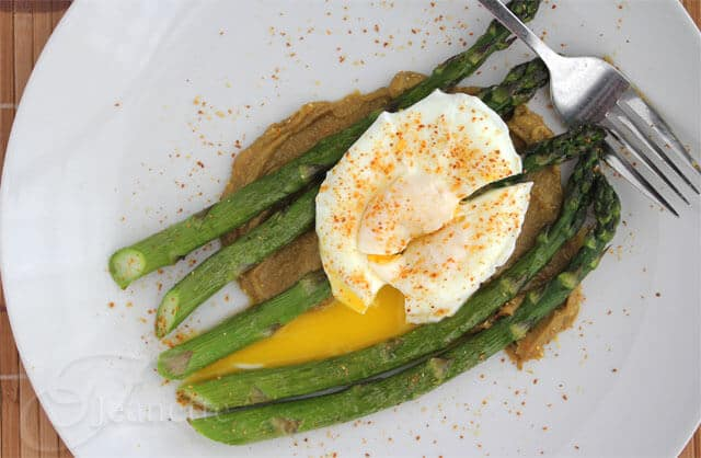 Roasted Asparagus and Poached Egg with Miso Butter (made with avocado)