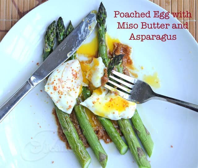 "Momofuku Roasted Asparagus with Poached Egg and Miso ""Butter"" Sauce Recipe (Power Food)"