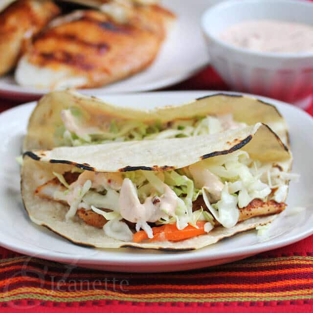 Fish Tacos with Chipotle Yogurt Sauce © Jeanette's Healthy Living