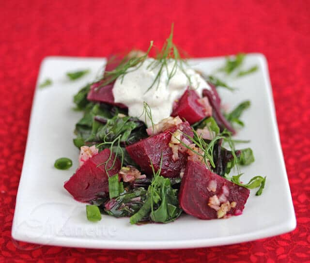 Warm Braised Beet Salad with Beet Greens and Yogurt Sauce