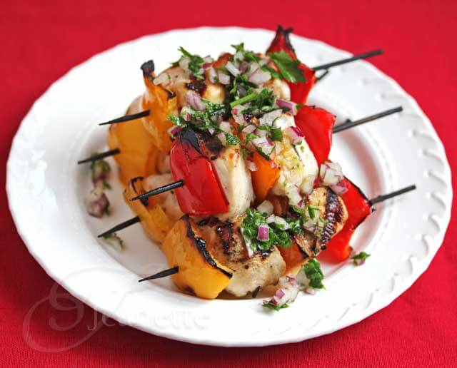 Grilled Chicken Bell Pepper Zucchini Squash Vegetable Kebabs