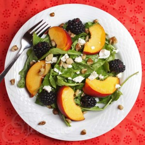 Peach Blackberry Arugula Salad