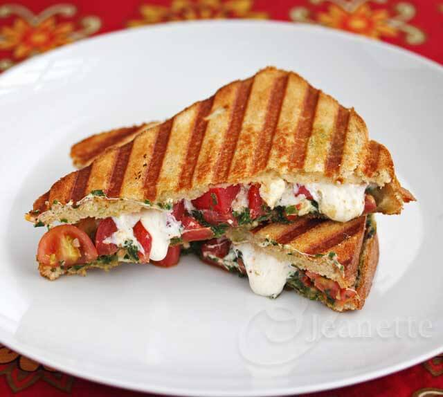 Tomato Caprese Panini with Kale Pesto