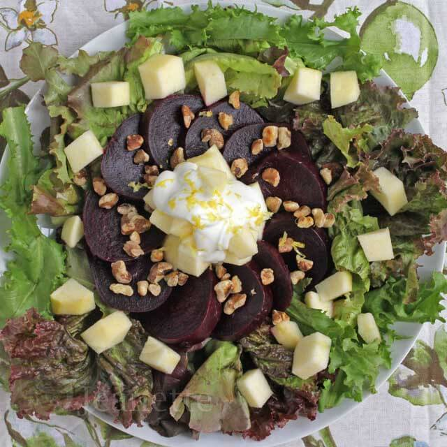 Roasted Beet, Apple, Walnut Salad with Honey Lemon Yogurt Dressing
