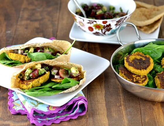Butternut Squash & Chickpea Patties with Grape Avocado Salsa by Cara's Cravings