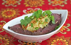 Baked Stuffed Japanese Sweet Potato with Scallions and Cilantro