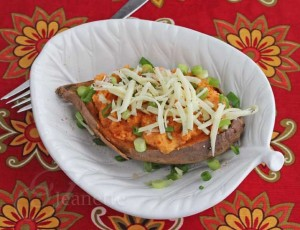 Crockpot Baked Stuffed Sweet Potato with Cheese