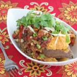 Baked Sweet Potato with Chicken Chili