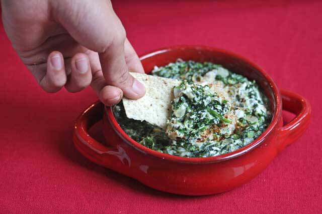 Skinny Hot Spinach Dip with Chips