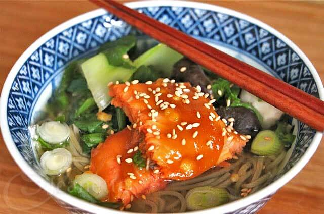 Honey Miso Glazed Salmon Soba Noodle Soup