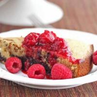 Pumpkin Spice Coffee Chocolate Marble Cake with Raspberry Sauce