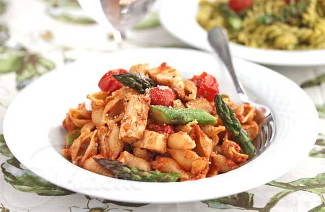 Pasta with Sundried Tomato Pesto, Chicken, Roasted Tomatoes and Asparagus