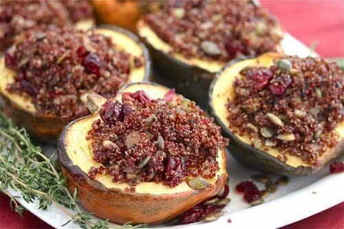 Roasted Acorn Squash Stuffed With Mushroom Quinoa Pilaf