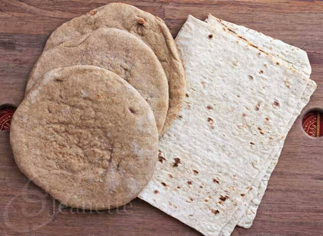 Shawarma Bread - pita bread and lavash flat bread can be used