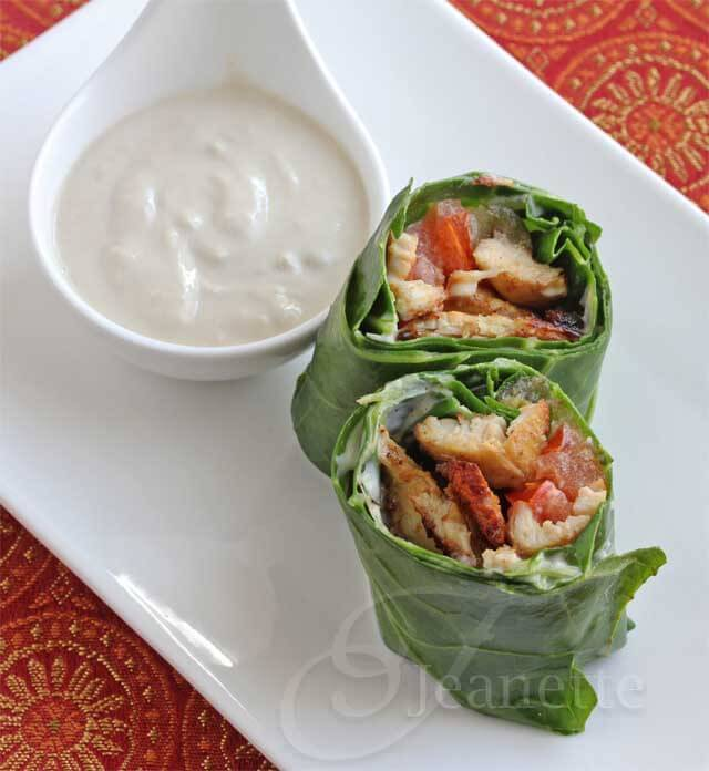 Shawarma Chicken Collard Wraps