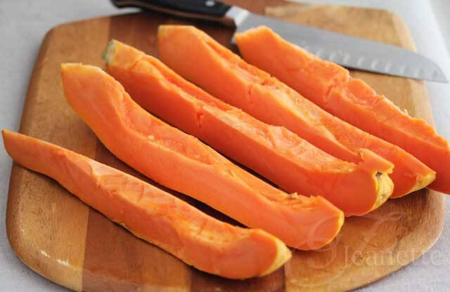Fresh Sliced Papaya