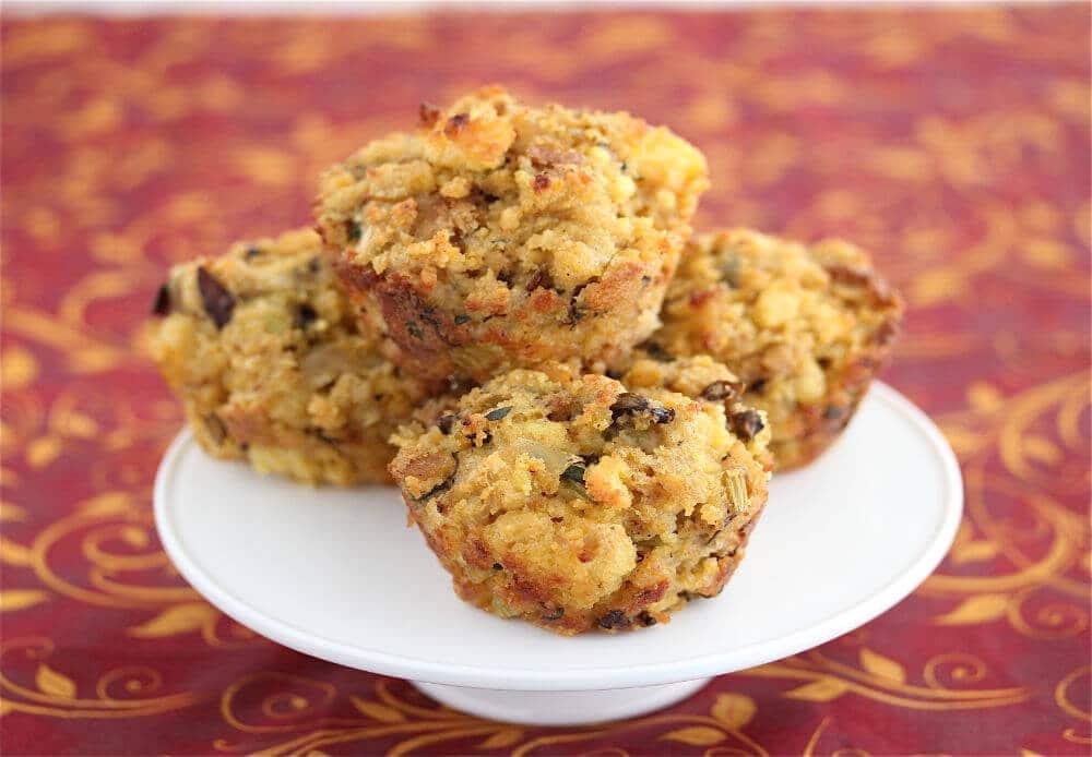 Mushroom Cornbread Stuffing Muffins