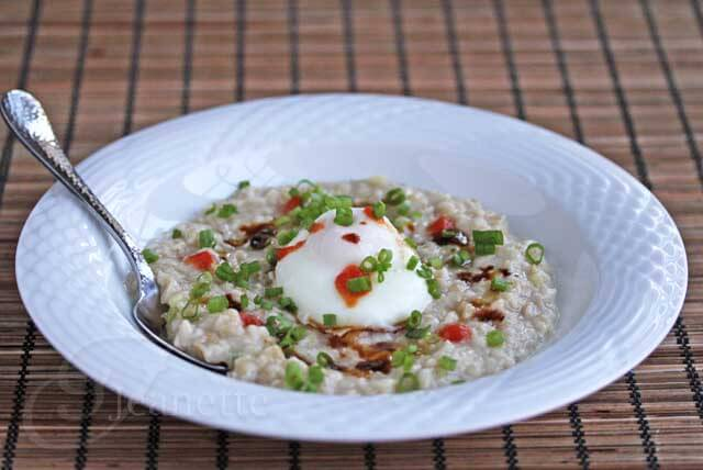 Asian Inspired Savory Oatmeal - a new spin on oatmeal and Asian rice porridge that is healthy and satisfying for breakfast