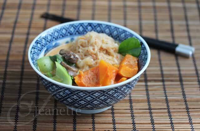 Spicy Thai Coconut Curry Winter Squash Noodle Soup © Jeanette's Healthy Living