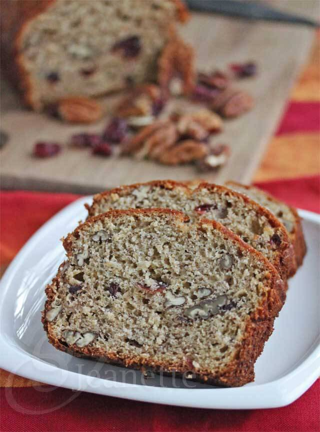 Whole Wheat Banana Pecan Cranberry Quick Bread Recipe (Power Foods)