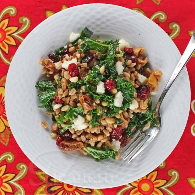 Warm Farro Kale Winter Fruit Salad