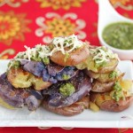 Grilled Grilled Potatoes with Green Harissa Sauce © Jeanette's Healthy Living with Green Harissa