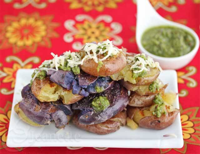 Grilled Smashed Baby Potatoes with Green Harissa Sauce Recipe {Comfort Food}